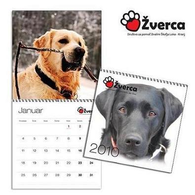 Žvercin dobrodelni koledar za pomoč živalskim brezdomčkom